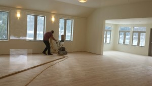 Sanding the Hardwood Floor